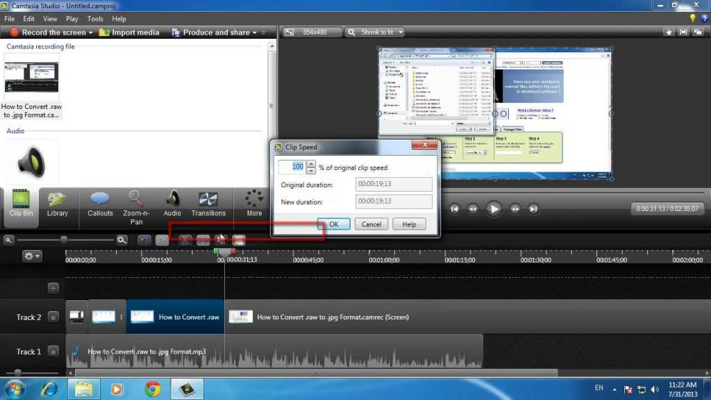 Edit the video with Camtasia