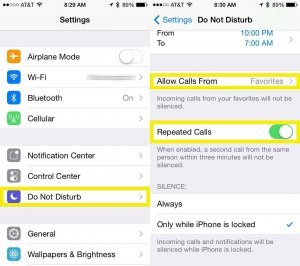 """Allow certain calls to get through in """"Do not Disturb Mode"""" Iphone"""