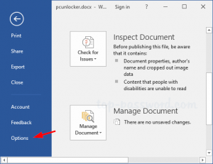 Procedure to Recover Unsaved Word Document in Word 2010, 2013, 2016