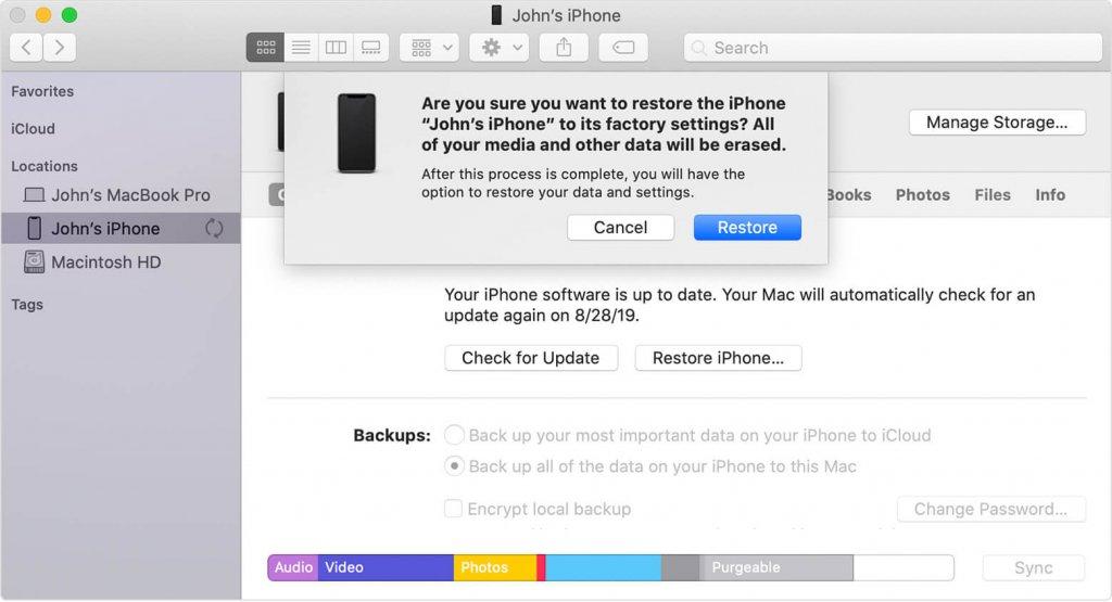 Factory reset iphone via iTunes