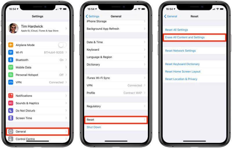 Resetting iphone via settings