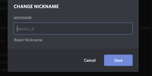 Changing Discord User Nickname
