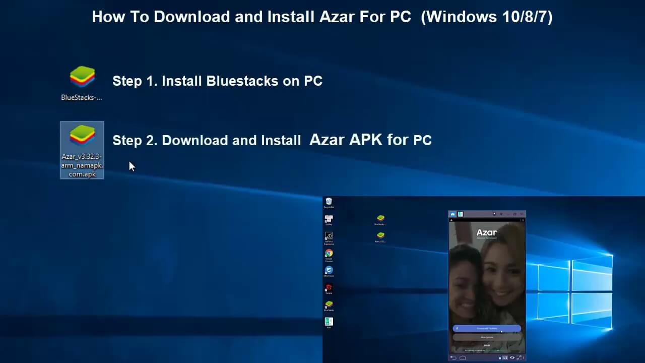 Downloading Azar app with Blue Stacks