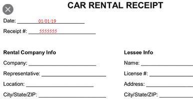 10 Fake Car Rental Receipt Generator