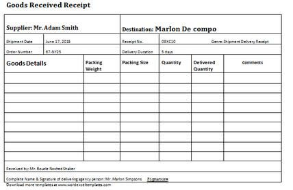 2. Delivery Receipt Template